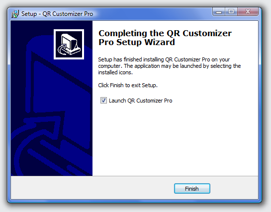 Click Finish. If the box Launch QR Customizer Pro is checked, the program will start automatically.
