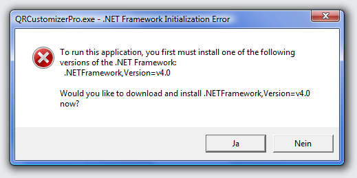 If Microsoft .NET 4 Framework is not installed, the installation program will be offered on the first program start. Click on Yes, you are directed to the Microsoft website to install it for free. Only after that QR Customizer Pro will work.