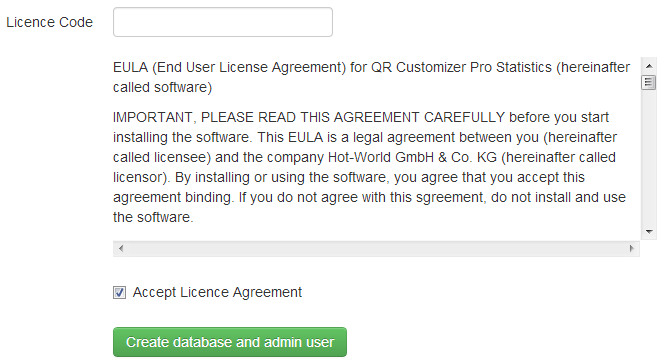 Enter license code and accept license agreement